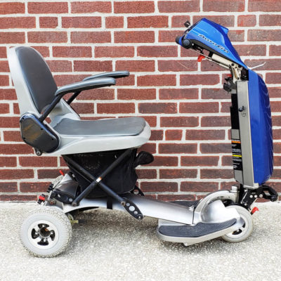 AutoGo folding mobility scooter in blue - right side