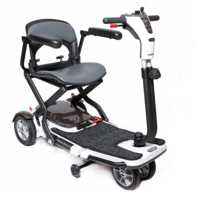 GoGo Folding Mobility Scooter - 3 wheels, angled left, unfolded armrests