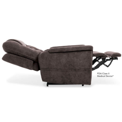 Viva Lift power lift recliner - Legacy Collection - Saville Grey - Profile in Lay Flat position
