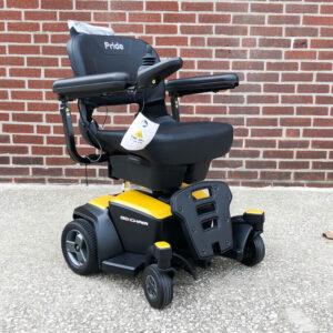 Pride GoChair power chair - yellow - three quarter view