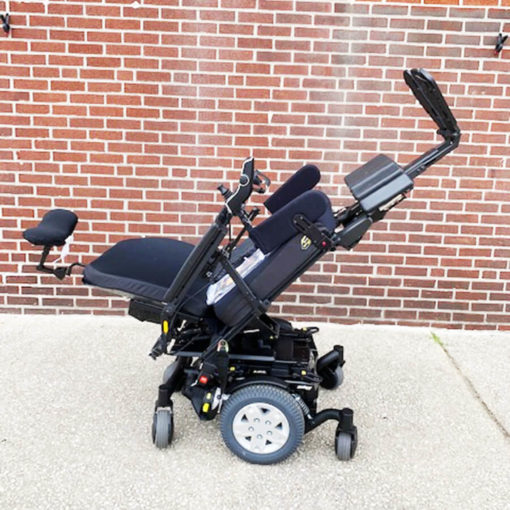 Quantum's Edge HD Power Wheelchair - lowered back with extended legs