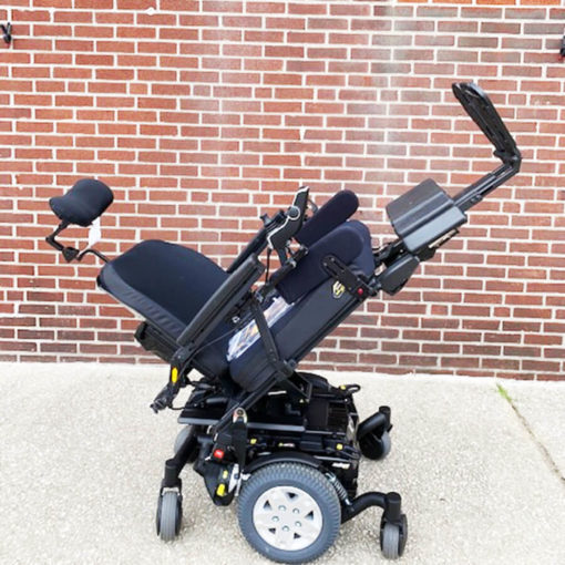Quantum's Edge HD Power Wheelchair - tilted back with extended legs