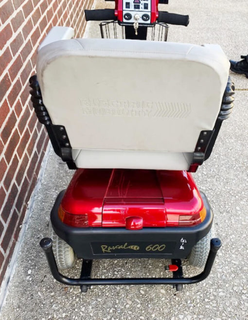 Rascal 600 mobility scooter with seat lift - rear view