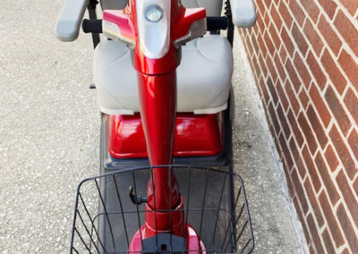 Rascal 600 mobility scooter with seat lift - front view