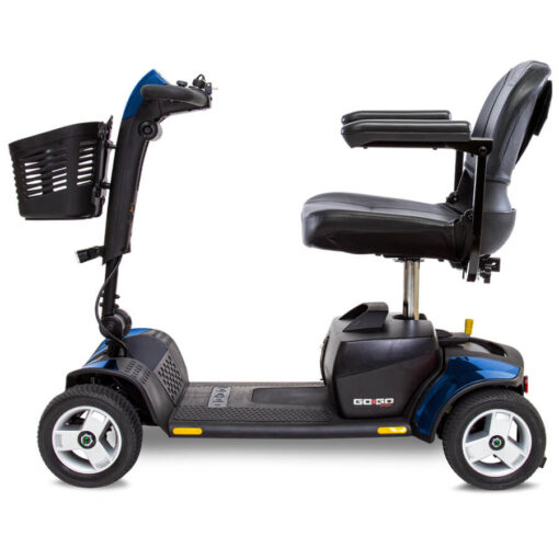 GoGo Sport 4 wheel mobility scooter in blue, left profile