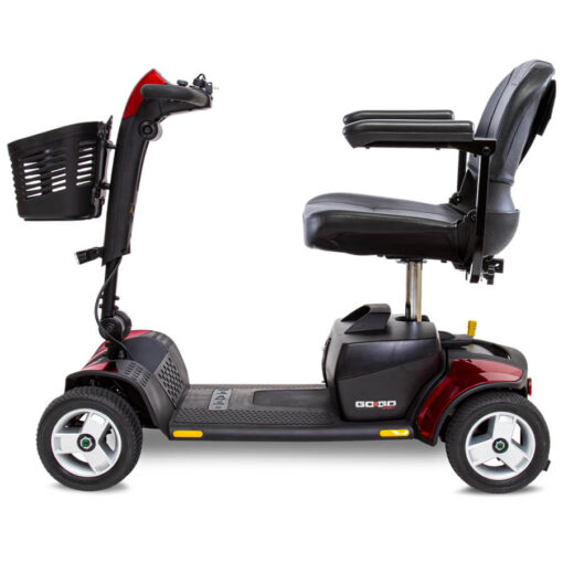 GoGo Sport 4 wheel mobility scooter in red, left profile