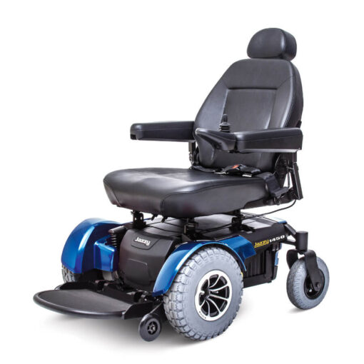 Jazzy 1450 powerchair in blue - highbacked seat, angled left