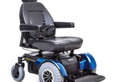 Jazzy 1450 - blue - highbacked seat - angled right