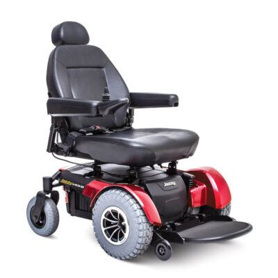Jazzy 1450 power wheelchair in red, angled right