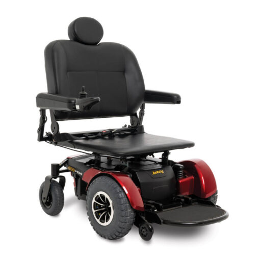 Jazzy 1450 - red - angled right - flat seat