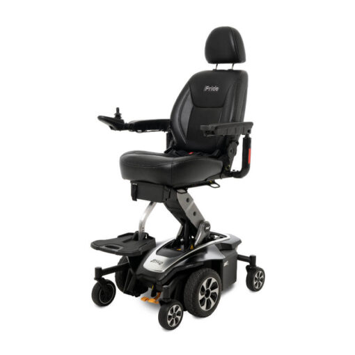 Jazzy Air 2.0 powerchair in black, angled left