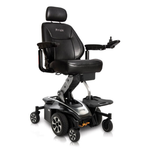 Jazzy Air 2.0 powerchair in black, angled right