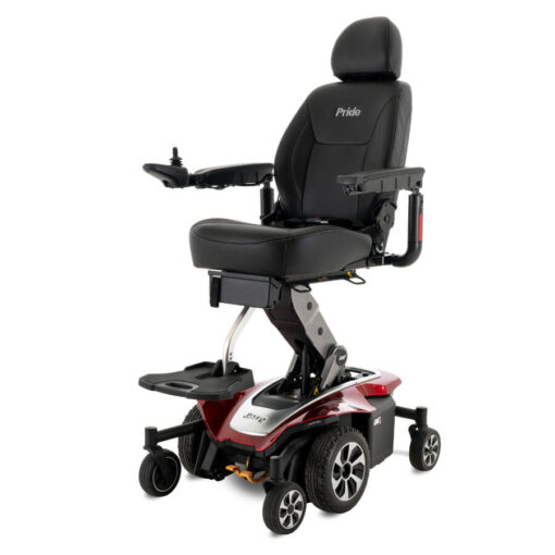 Jazzy Air 2.0 powerchair in ruby red, angled left