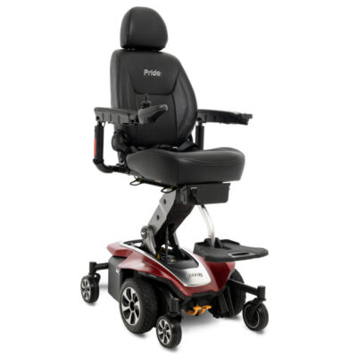 Pride Jazzy Air 2.0 power wheelchair in ruby red, angled right
