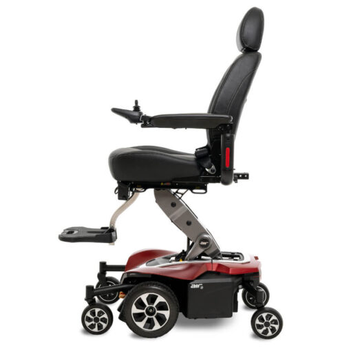 Jazzy Air 2.0 powerchair in ruby red, left profile