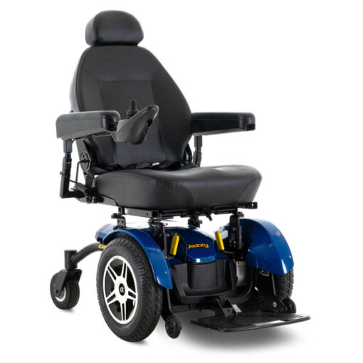 Jazzy Elite 14 powerchair in blue, right angled