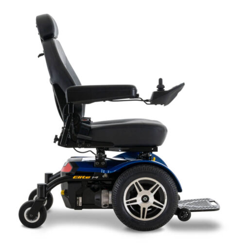 Jazzy Elite 14 powerchair in blue, right profile