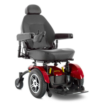 Jazzy Elite 14 powerchair in red, right angled