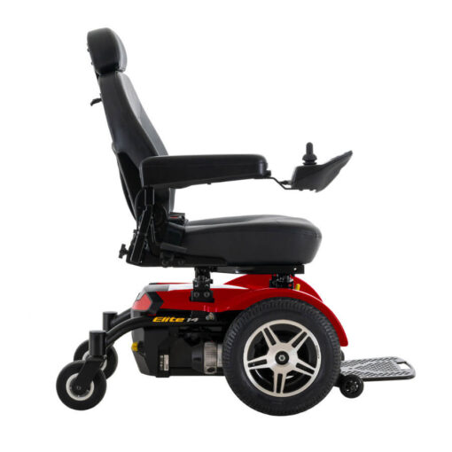 Jazzy Elite 14 powerchair in red, right profile