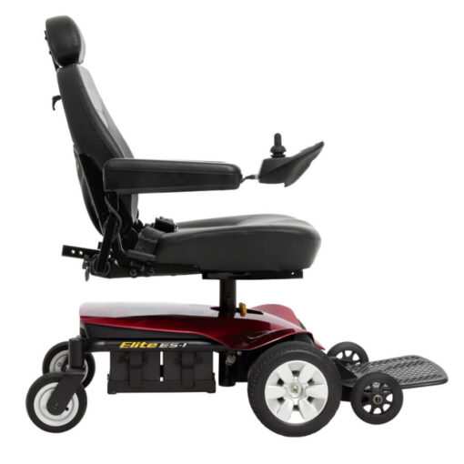 Jazzy Elite ES-1 powerchair in red, right profile