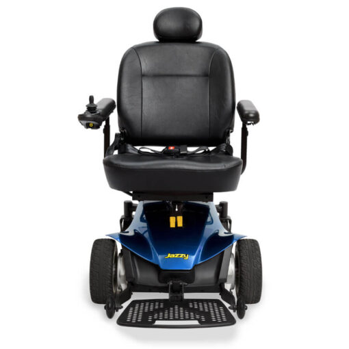 Jazzy Elite ES Portable powerchair in blue, front view