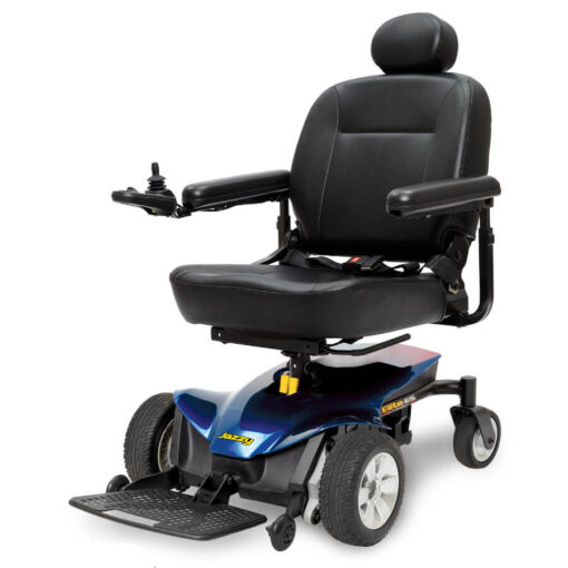 Jazzy Elite ES Portable powerchair in blue, left angled