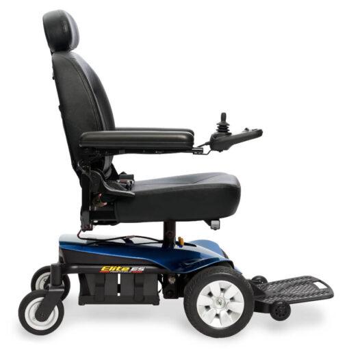 Jazzy Elite ES Portable powerchair in blue, left profile