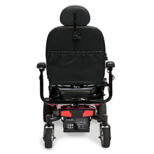Jazzy Elite ES Portable powerchair in red, back view