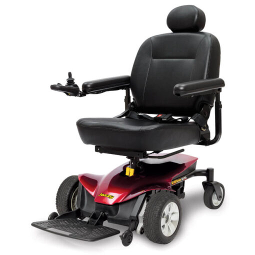 Jazzy Elite ES Portable powerchair in red, left angled