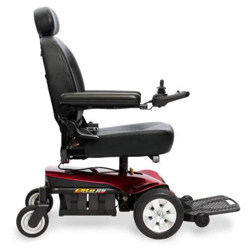 Jazzy Elite ES Portable powerchair in red, left profile