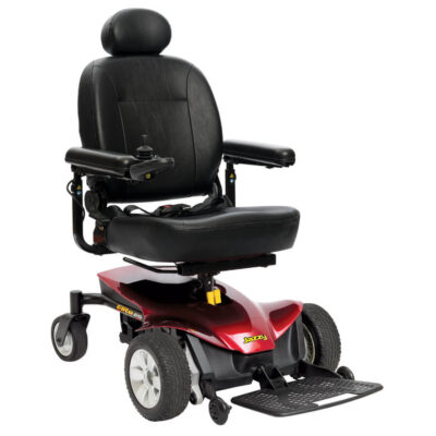 Jazzy Elite ES Portable powerchair in red, right angled