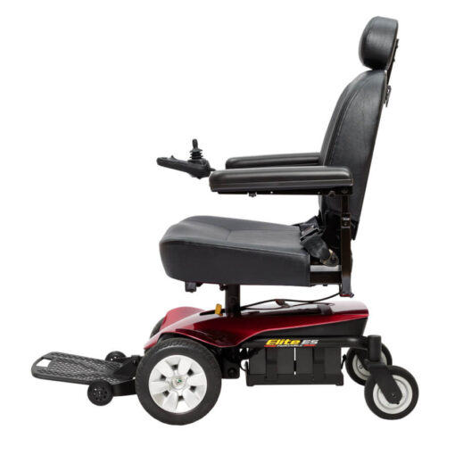 Jazzy Elite ES Portable powerchair in red, right profile