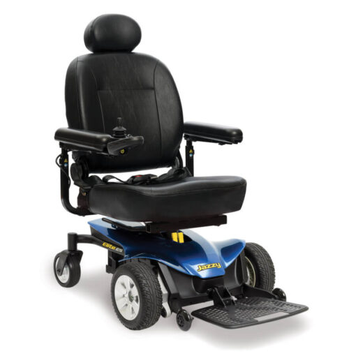 Jazzy Elite ES powerchair in blue, right angled