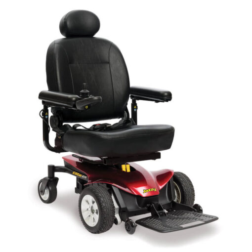 Jazzy Elite ES powerchair in red, right angled