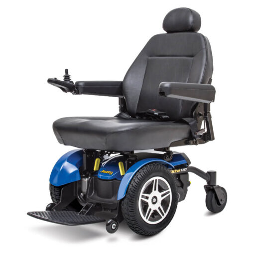 Jazzy Elite HD powerchair in blue, left angled