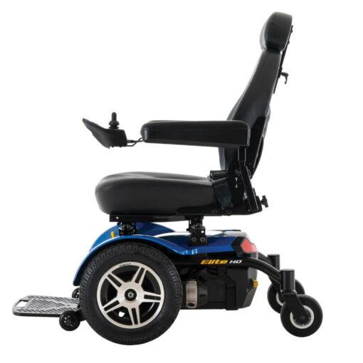 Jazzy Elite HD powerchair in blue, left profile