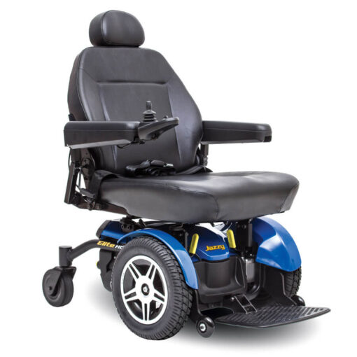 Jazzy Elite HD powerchair in blue, right angled