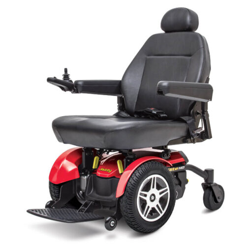 Jazzy Elite HD powerchair IN red, left angled