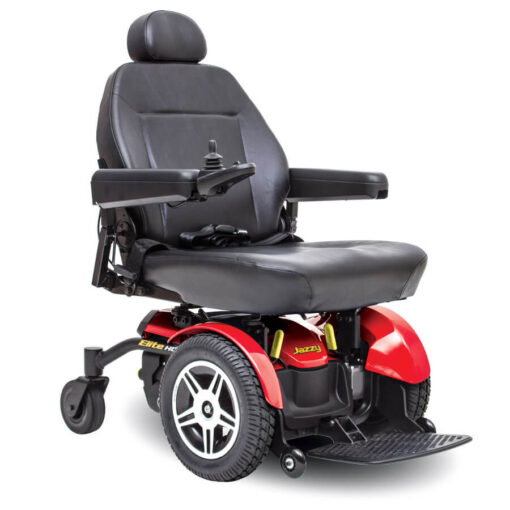 Jazzy Elite HD powerchair in red, right angled