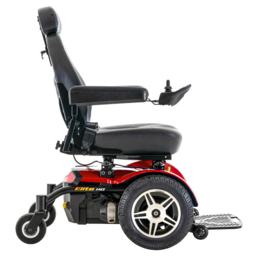 Jazzy Elite HD powerchair in red, right profile
