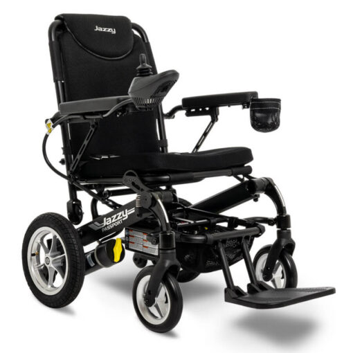 Jazzy Passport foldable powerchair in black, right angled