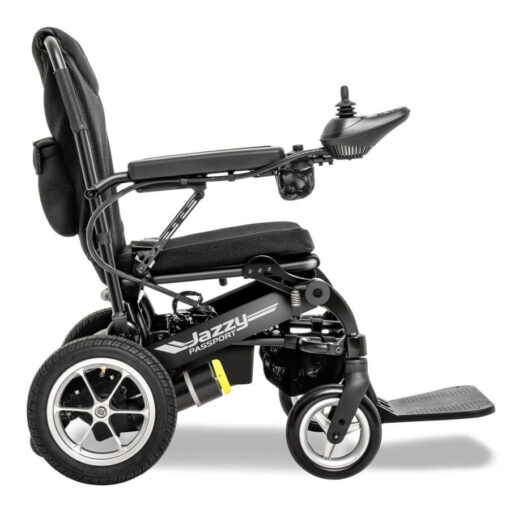 Jazzy Passport foldable powerchair IN black, right profile