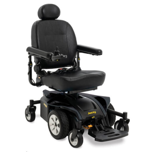 Jazzy Select 6 2.0 powerchair in onyx black, angled left