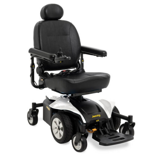 Jazzy Select 6 2.0 powerchair in pearl white, angled left