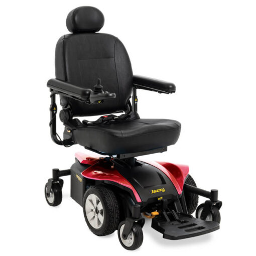Jazzy Select 6 2.0 powerchair in ruby red, angled left