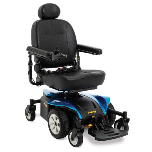 Jazzy Select 6 2.0 powerchair in sapphire blue, angled left