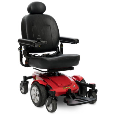 Jazzy Select 6 powerchair in red, angled right