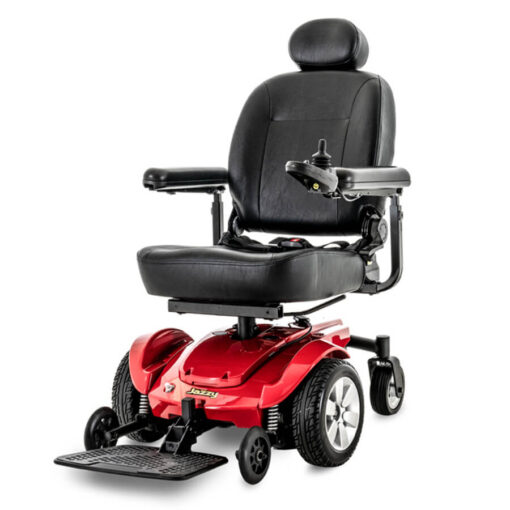 Jazzy Select powerchair in red, angled left