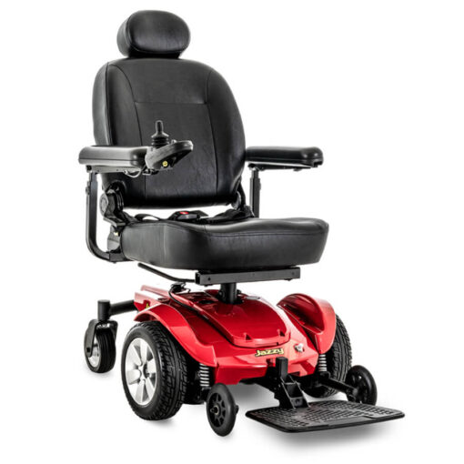 Jazzy Select powerchair in red, angled right