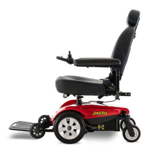 Jazzy Select powerchair in red, left profile